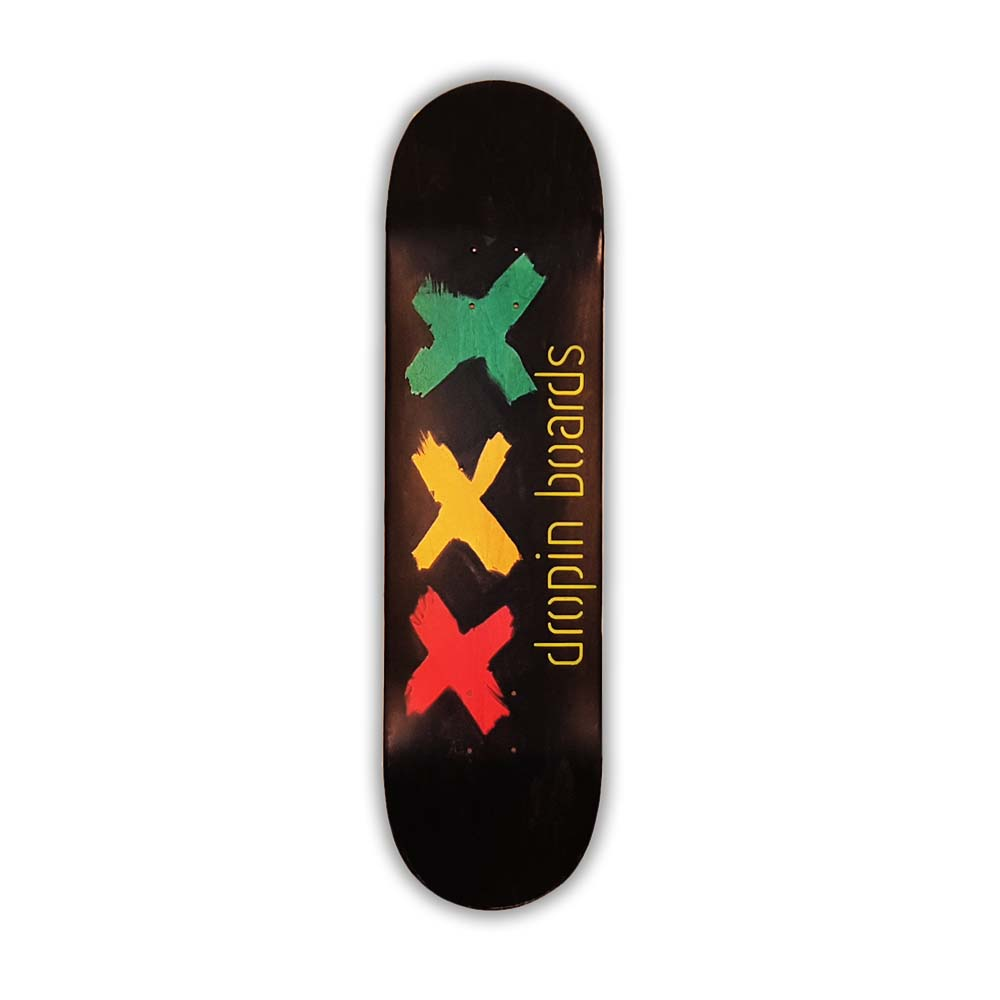 Skateboard Dropinboards Black Rasta XXX